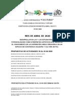 ACTIVIDADES CULTURA 3ER. MOMENTO PEDAGOGICO