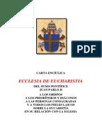 CARTA ENCÍCLICA Ecclesia de Eucharistia JPII