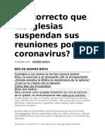 Es correcto que las iglesias suspendan sus reuniones por el coronavirus