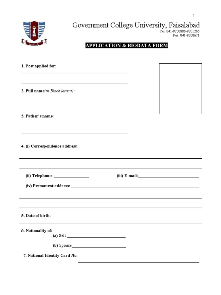 Application And Biodata Form Titles Academic Degree