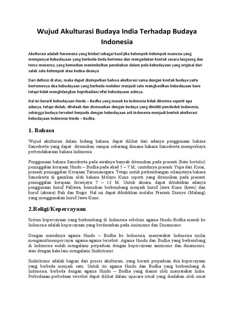 Wujud Akulturasi Budaya India Terhadap Budaya Indonesia