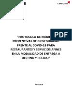 Protocolo Bioseguridad Restaurantes y Afines