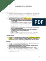 EL LIDERAZGO Y ESTILOS DE GESTION PRINCIPALES CONCEPTOS