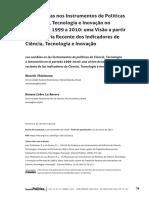 As Mudanças nos Instrumentos de Políticas de Ciência, Tecnologia e Inovação no Período de 1999 a 2010