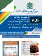 Modos de Organização, Seqüência e Apresentação Que Caracterizam Os Diferentes Gêneros de Texto