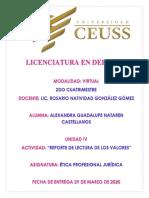 Reporte de Lectura de VALORES- Etica Profesional Juridica