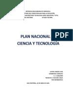 Ensayo Del Plan Nacional de Ciencia y Tecnologia
