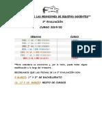 calendario de las reuniones de equipos docente