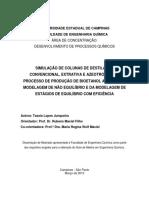 SIMULAÇÃO DE COLUNAS DE DESTILAÇÃO CONVENCIONAL, EXTRATIVA E AZEOTRÓPICA Tassia Lopes Junqueira