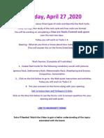 monday assignement 6th grade april 27