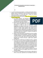 INFORMACIÓN REQUERIDA PARA PROCESOS FINANCIEROS Y ADMINISTRATIVOS