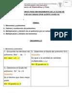 8vo Explicacion I Unidad Tema Polinomios