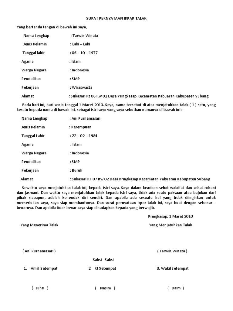 Contoh Surat Talak Kosong Doc Nusagates