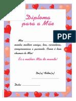 Diploma. Dia da Mãe