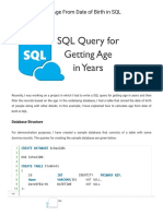 How to Calculate Age From Date of Birth in SQL _ Query for Getting Age