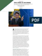 Os novos crimes de Bolsonaro