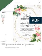 O ouro floral tropical brilha o convite da festa do de _br_ Entrega Rápida_ Zazzle.com