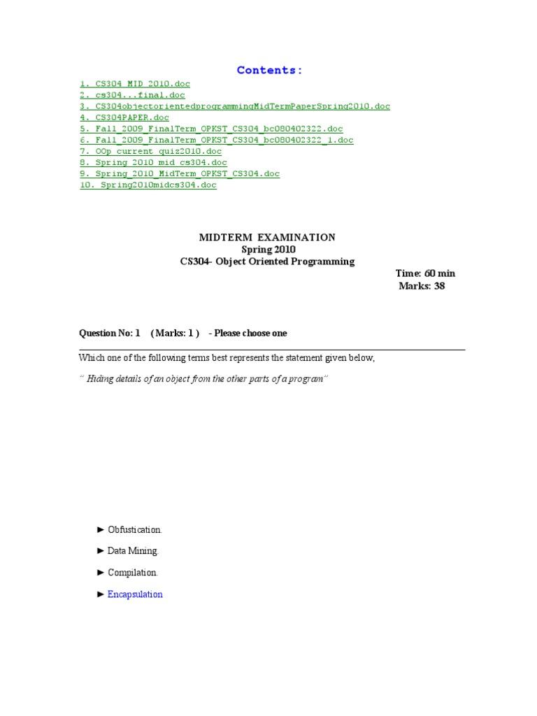 Cs304 Oop Compiled Mcq | Class (Computer Programming) | Inheritance