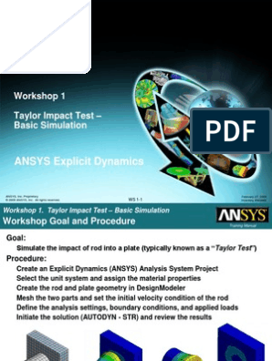 ANSYS Explicit Dynamics 120 Workshop 01 | Simulation | Structural Steel