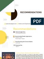 Books. Recommendation Landscape Version