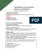 Guia para elaborar un Manual de Organizaciòn