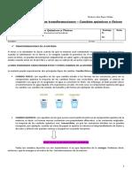 guia ciencia  cambios quimicos y fisiscos 7° basico N° 3