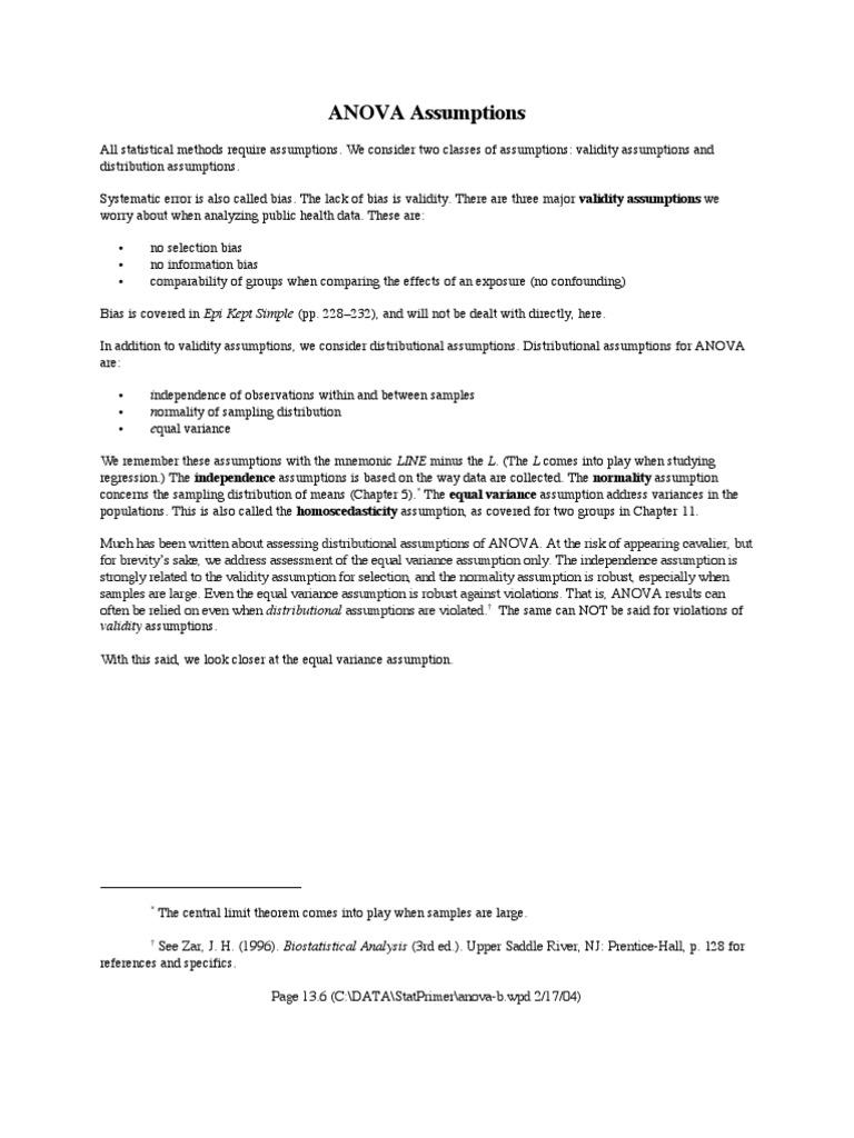 Assumption of Anova   Analysis Of Variance   Student's T Test
