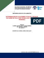 D.E. 5 - Determinación de coliformes fecales y totales en carne de pollo