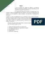 Taller. Características de los modelos de calidad de software.