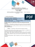 Activities guide and evaluation rubric - Speaking Production (Inglès) hhb