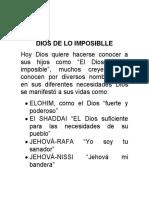 DIOS DE LO IMPOSIBLLE