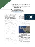 Investigación y Análisis de proyectos en Perú con la implementación de distintas especialidades en Ingeniería Civil