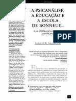 A  PSICANÁLISE,  A  EDUCAÇÃO  E  A  ESCOLA  DE  BONNEUIL.