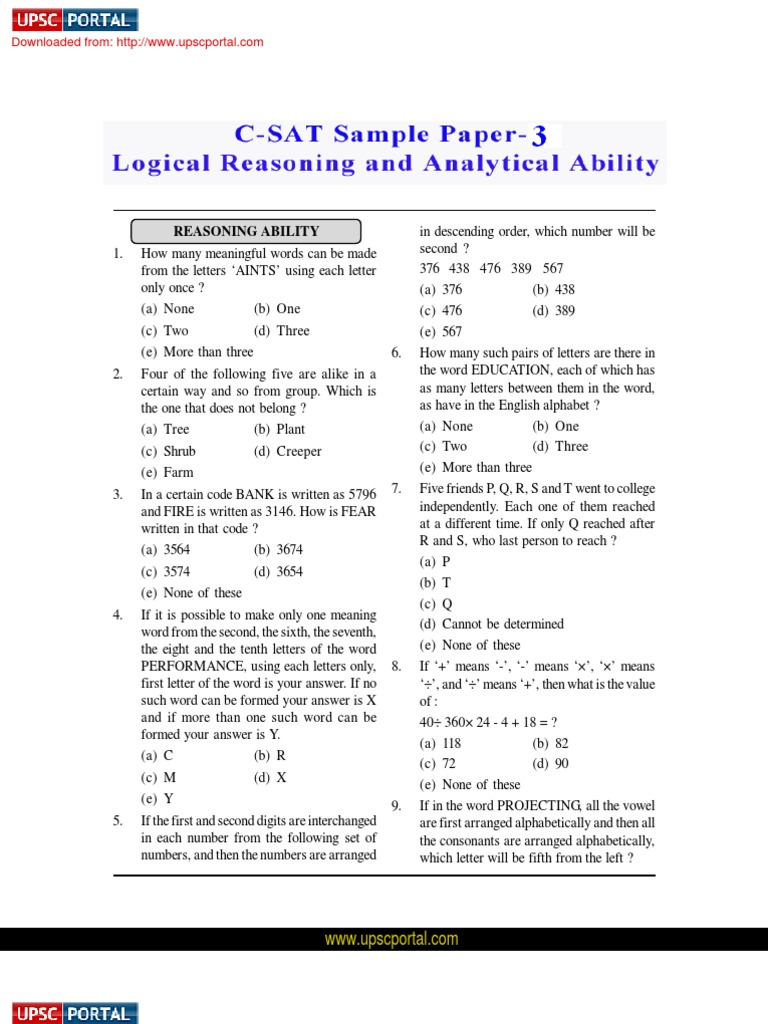 csat logical reasoning and analytical ability sample paper 3 csat logical reasoning and analytical ability sample paper 3 test assessment consonant