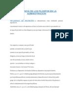 INFLUENCIA DE LOS FILOSFOS EN LA ADMINIDTRACION