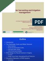 Rainwater harvesting and Irrigation management