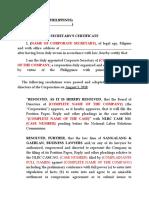 Secretary Cert (Template-Labor Case)