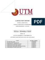 TENSILE TEST LAB REPORT