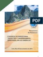 42°Congreso Internacional Desastres y Ordenamiento Territorial en las Américas, Lima Noviembre 2010