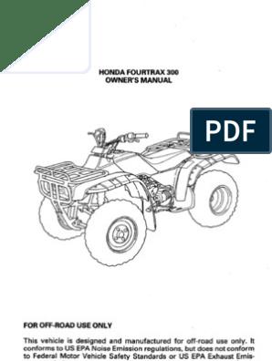 Honda Owners Manual >> Honda Owner Manual Trx300 1996
