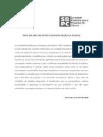 NOTA DA SBPC EM APOIO À MANIFESTAÇÃO DA FIOCRUZ