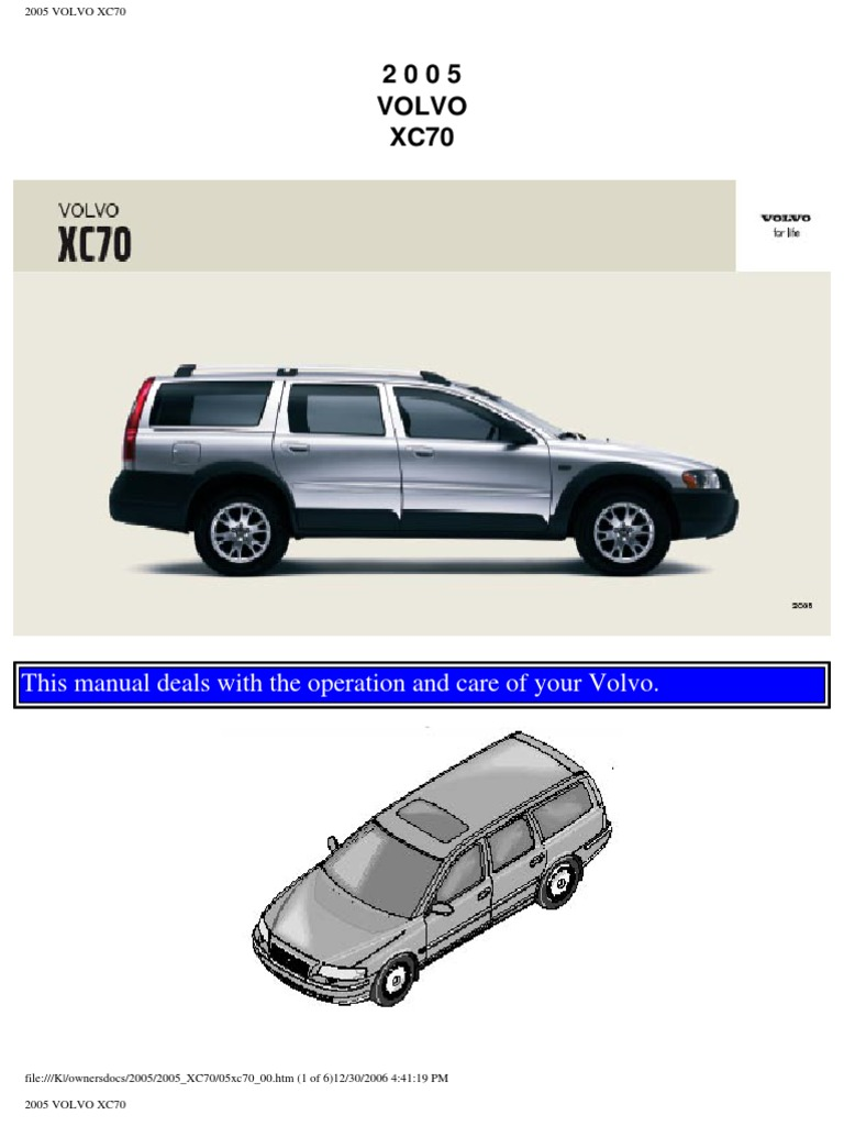Volvo Xc70 2005 User Manual Airbag Seat Belt Fuel Filter