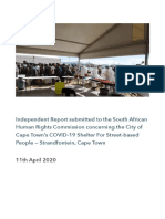 Independent Report Submitted to the South African Human Rights Commission Concerning the City of Cape Town's COVID 19 Shelter for Street Based People — Strandfontein Cape Town