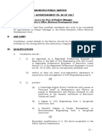 Vacancy - Post of Project Manager - PMO