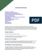 Questionnaire Design.Reading