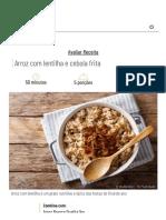 receita arroz com lentilha