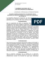 Acuerdo en Defensa Del Derecho a La Educación Basica, En El Marco de La Pandemia Por Covid-19