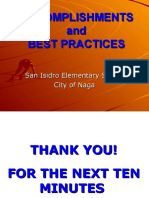 Accomplishments of San Isidro Elementary School