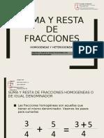 PPT Suma y resta de fracciones Homogeneas y Heterogeneas