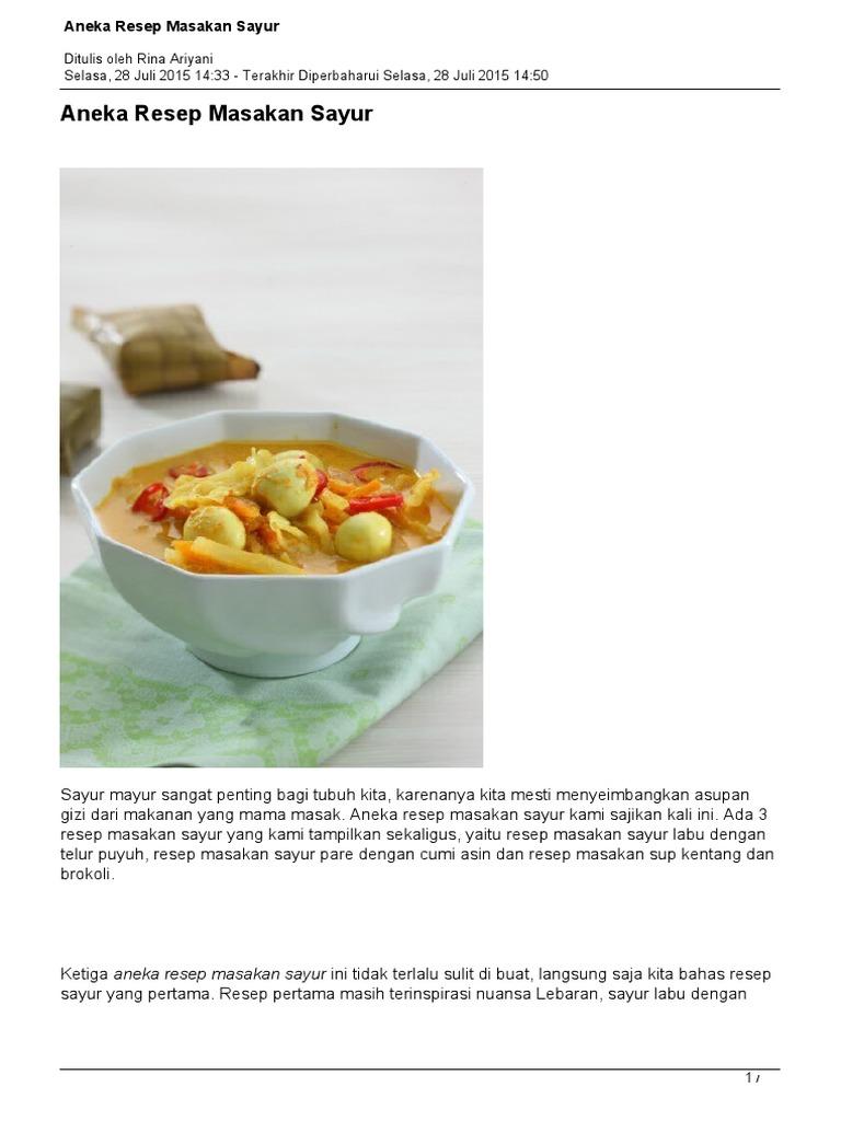 Aneka Resep Masakan Sayur